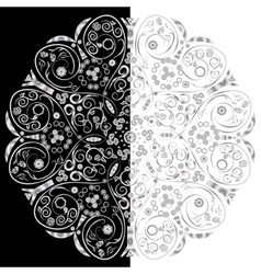 Ornamental floral round lace background vector