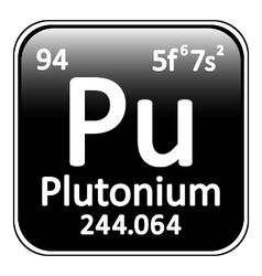 Periodic table element plutonium icon vector