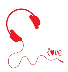 Red headphones with cord white background love vector