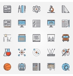 School icons colorful set vector