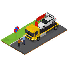 Tow truck isometric view vector