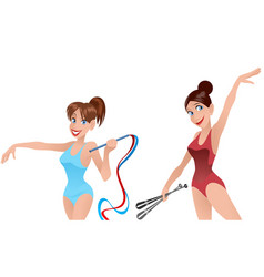 two gymnast girls vector image