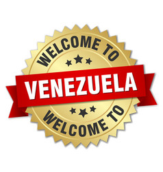 venezuela 3d gold badge with red ribbon vector image