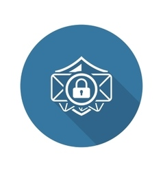 Email security icon flat design vector