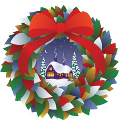 Fairy Christmas wreath vector image