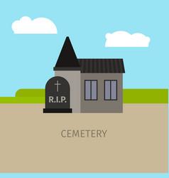 cemetery building cartoon vector image