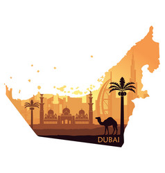 Map of the uae with the skyline of dubai the vector