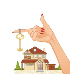 Woman hand with house key and cottage vector