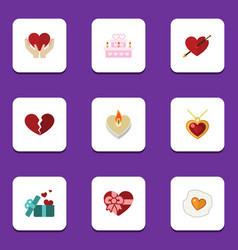 Flat icon passion set of fire wax heart gift and vector