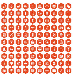 100 software icons hexagon orange vector