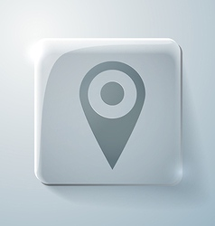 Glass icon pin location on the map vector