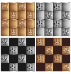Gold and silver seamless patterns royal lily set vector