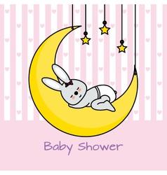 rabbit sleeping on the moon vector image