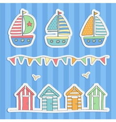 Beach huts bunting and sailing boats vector