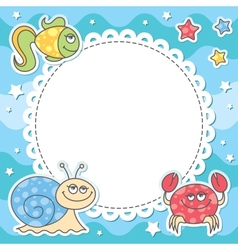 card with sea creatures vector image