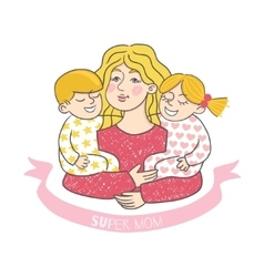 Happy mother s day card with cartoons vector