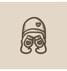 Hat and mittens for children sketch icon vector