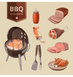Bbq meat elements for vintage barbecue vector