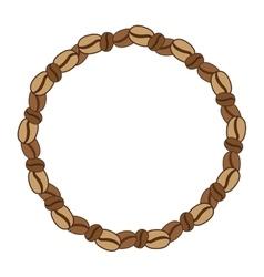 Beans coffee border in circular shape design vector