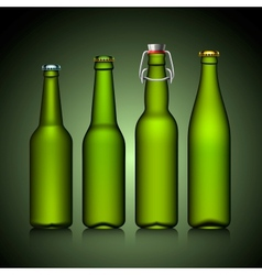 Beer bottle clear set with no label green glass vector image