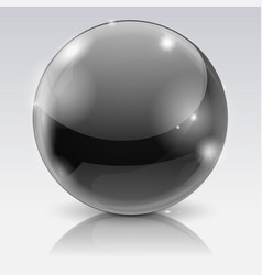 black glass ball 3d shiny sphere vector image vector image