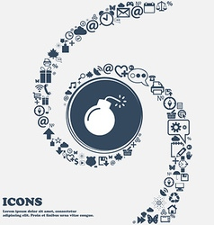 Bomb icon in the center around the many beautiful vector