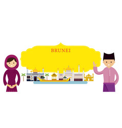 Brunei landmarks people in traditional clothing vector