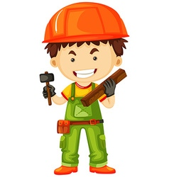 Carpenter holding hammer and wood vector