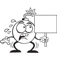 Cartoon Bomb with a Sign vector image