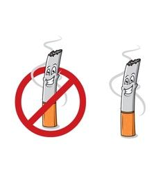 Cartoon happy cigarette butt vector image