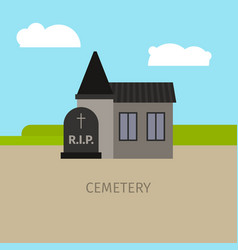 Cemetery building cartoon vector