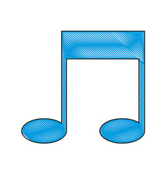 Drawing note music sound melody icon vector