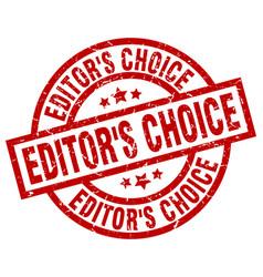 Editors choice round red grunge stamp vector