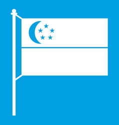Flag of singapore icon white vector