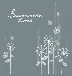 Floral hand draw card in grey vector