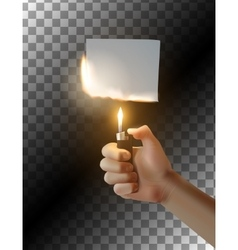 Hand with lighter on transparent background vector