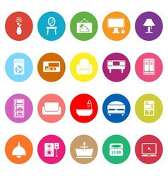 Home furniture flat icons on white background vector image vector image