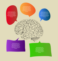 Human brain with infographic banner diagram vector