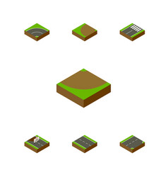 Isometric road set of footer repairs down and vector