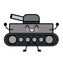 kawaii world war battle tank aiming cannon cartoon vector image