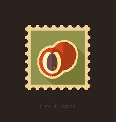 Lichee flat stamp tropical fruit vector