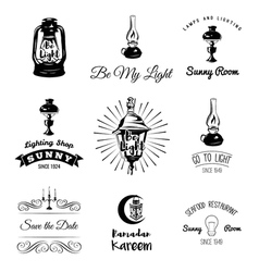 Lighting Labels Set Table Lamp Street Lamp Candle vector image