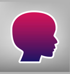 People head sign purple gradient icon on vector
