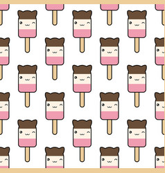 seamless pattern cute kawaii styled ice cream vector image vector image