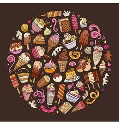 Set of Ice Cream cartoon doodles objects vector image vector image