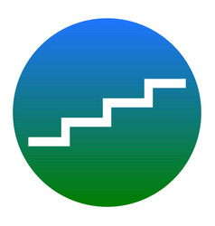 Stair up sign white icon in bluish circle vector