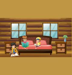Three kids reading books in bedroom vector