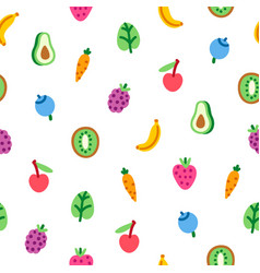 veggies and fruits cartoon pattern vector image vector image