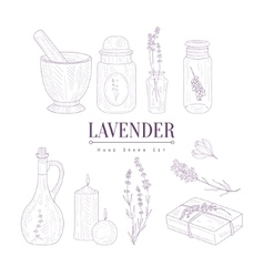 Lavender products clipart elements hand drawn vector
