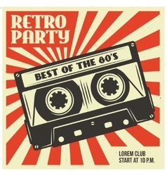Retro party poster template with audio cassette vector